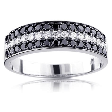 rings designer mens black white diamond wedding band