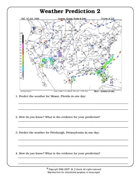 weather prediction 2 worksheet 7th 9th grade
