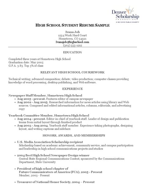 high school student resume template 4 free templates