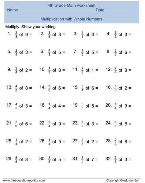 free 4th grade fractions math worksheets printables edumonitor