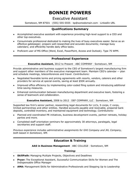 executive administrative assistant resume sle monster