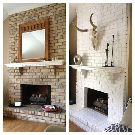 brick fireplace painted white pinteres