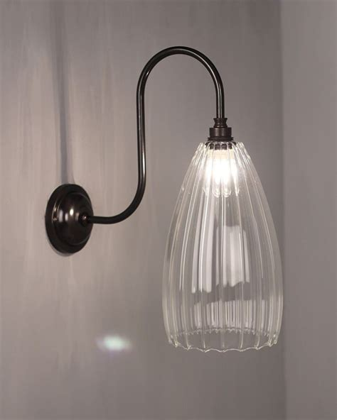 clear ribbed glass bathroom wall light swan neck