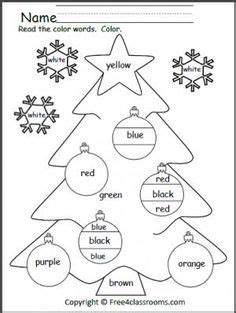 free color words christmas worksheet students practice reading