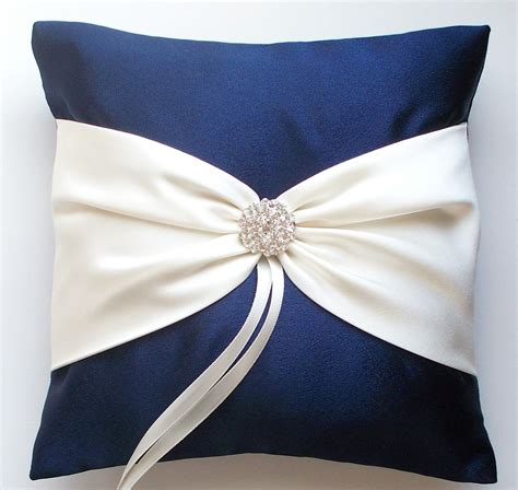 wedding ring pillow navy ivory sash cinched etsy