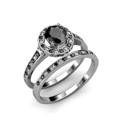 black white diamond bridal set ring wedding band