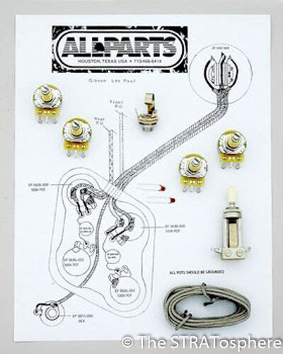 les paul pots switch wiring kit gibson guitar