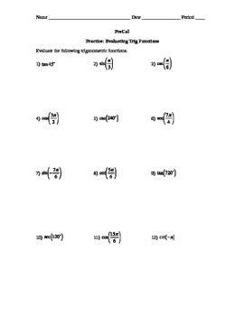 evaluating trig functions worksheet kim tpt
