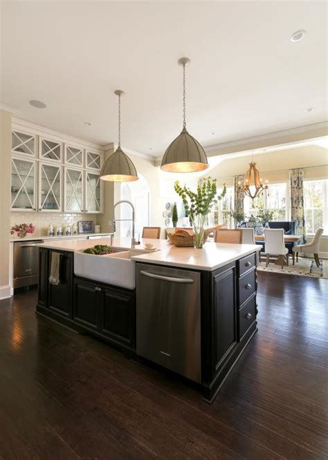 large island country style kitchen clear view dining