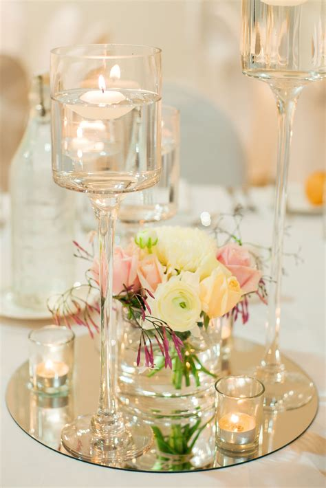 silver wedding decorations tables floating candle centerpieces wedding