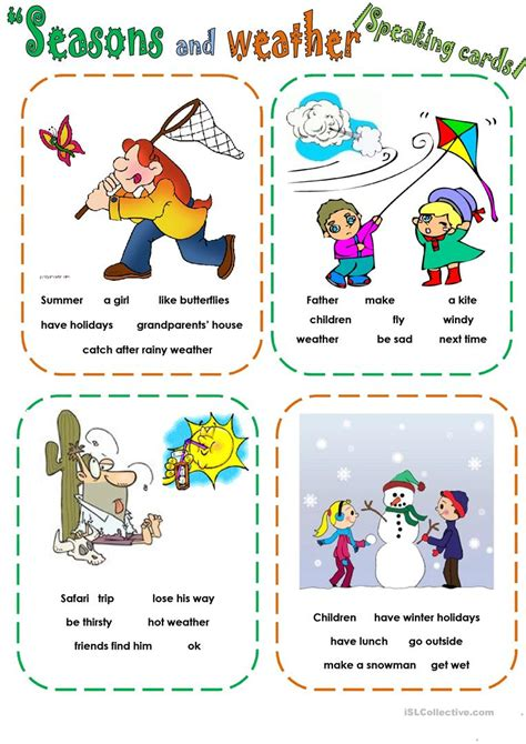 weather speaking cards english esl worksheets distance learning