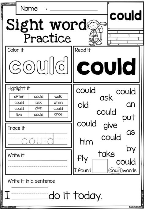 free sight word practice sight word practice pages
