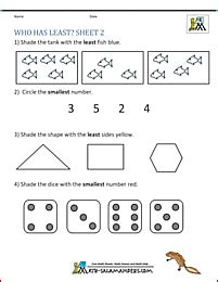 printable kindergarten math worksheets comparing numbers size