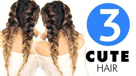3 easy hairstyles girls cute school hairstyle youtube