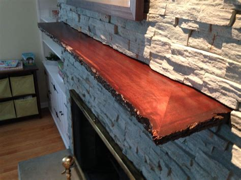 hand crafted live edge slab fireplace mantle mad