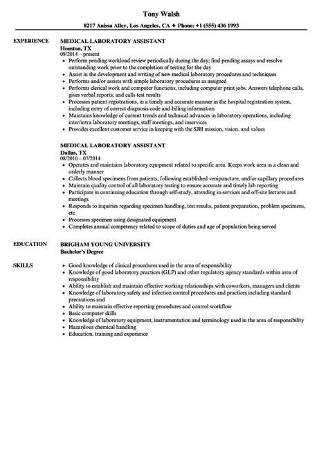 medical laboratory assistant resume sles velvet jobs