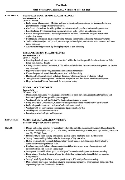 senior java developer resume sles velvet jobs