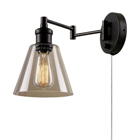 globe electric leclair 1 light dark bronze plug
