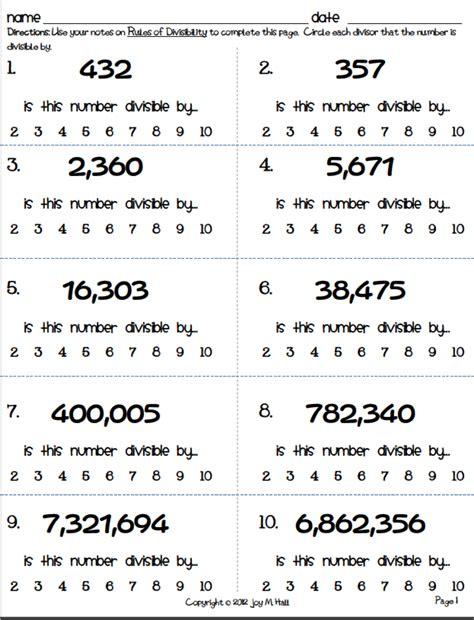 rules divisibility worksheets
