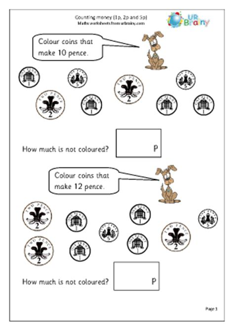 counting money 2 money maths worksheets year 2