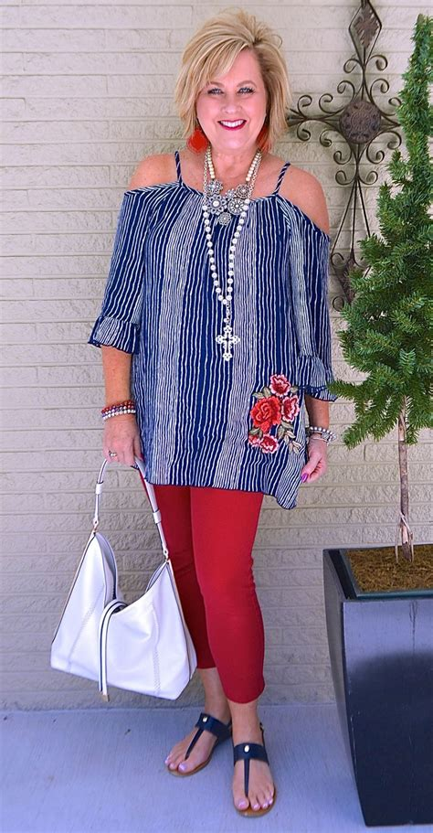 50 cold shoulder stripes embroidery summer outfit red