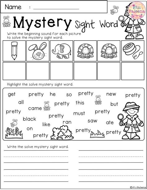 free mystery sight word practice sight word worksheets