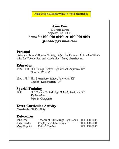 hs student resume resume high school student work