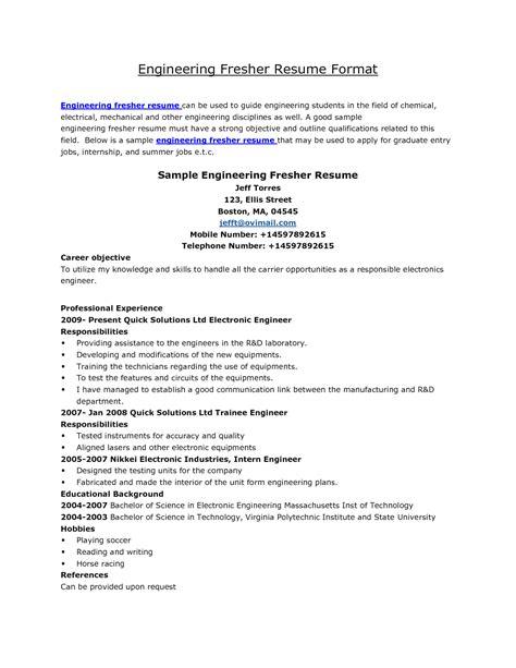 resume format engineering students http jobresume resume format
