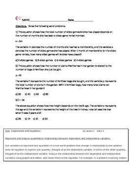 expressions equations word problems common core math worksheets