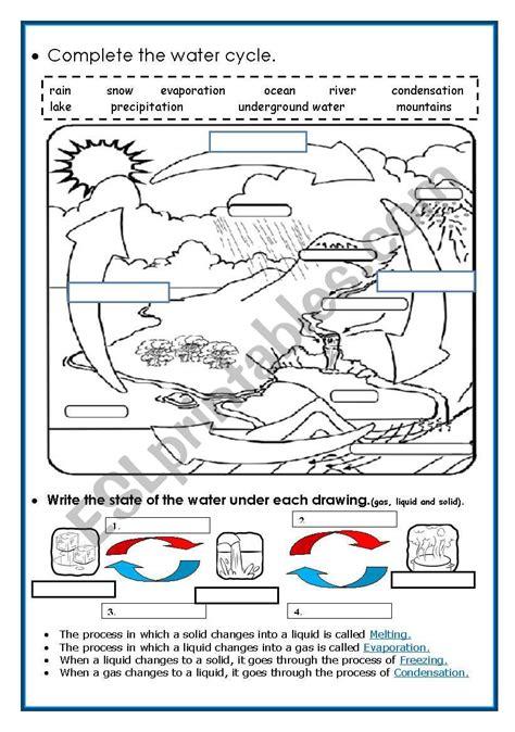 water cycle esl worksheet piedadrosell