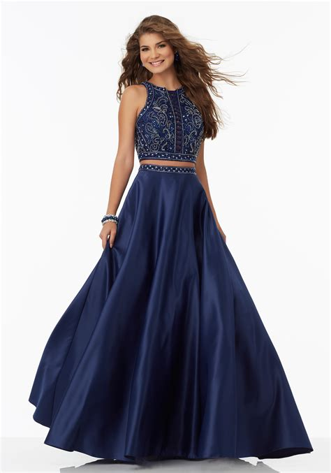 piece satin prom dress beaded bodice style 99052