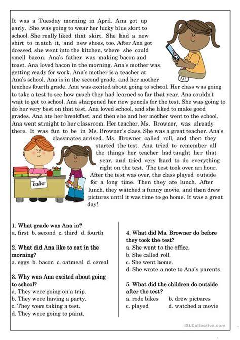 reading comprehension beginner elementary students 10 worksheet free