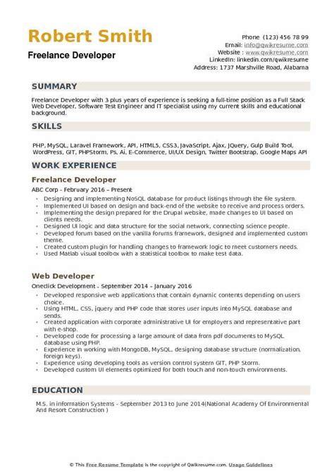 freelance developer resume sles qwikresume
