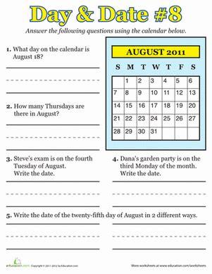 august 2011 calendar learning worksheet education