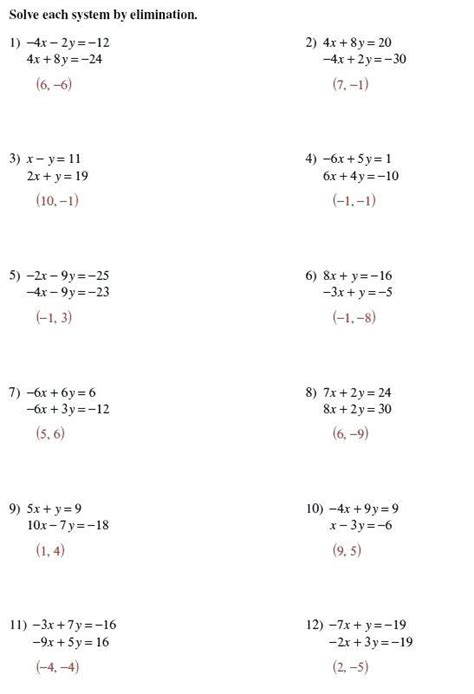 solving systems equations substitution worksheet algebra 1 briefencounters