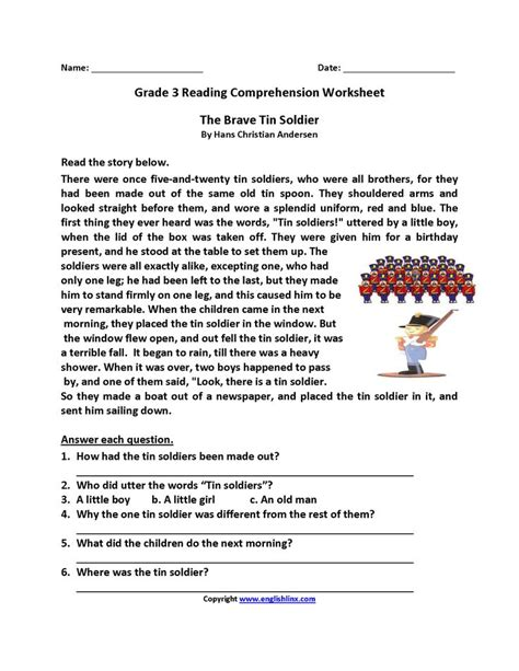 brave tin soldier grade reading worksheets reading comprehension