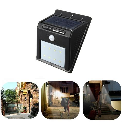 8 led solar power pir motion sensor wall