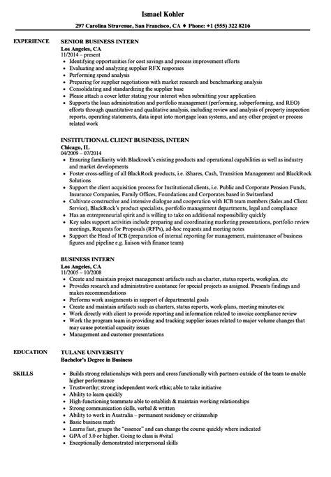 business intern resume sles velvet jobs