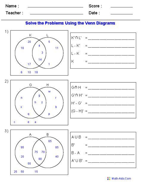 venn diagram worksheets set notation problems sets venn