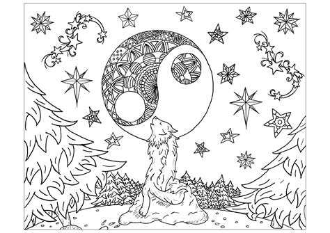 wolf mandala moon wolves adult coloring pages