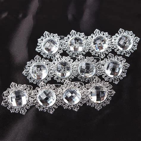 12pcs diamond napkin ring serviette holder wedding party