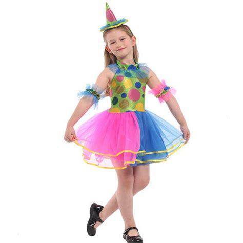 2018 kids girls colorful clown cosplay costume children