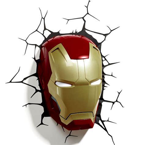 marvel avengers 3d wall light hulk iron man