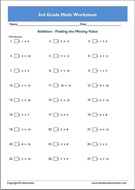 3rd grade math worksheets images 3rd grade math