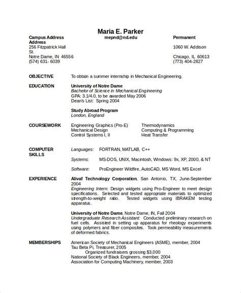 10 mechanical engineering resume templates doc free premium