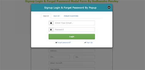 signup login forget password modal form template free