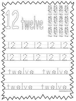 single bible curriculum worksheet trace number 12 preschool