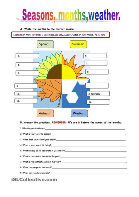 seasons weather teaching kids esl pinterest