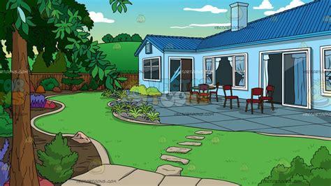 landscaped backyard house background clipart cartoons vectortoons