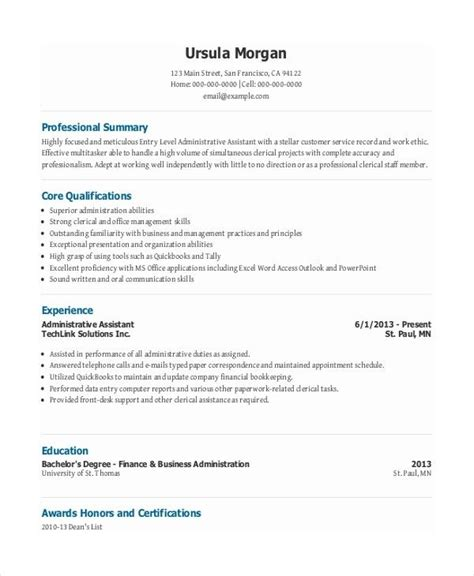 top 20 entry level administrative assistant resume functional